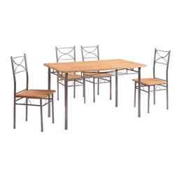 Set (Table + 4 Chairs) METAL SILVER / BEECH Color