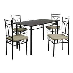 Set (Table + 4 Chairs) METAL BLACK / MDF WENGE (Cream Fabric)