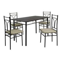 Set (Table + 4 Chairs) METAL BLACK / MDF WENGE (Cream Fabric)