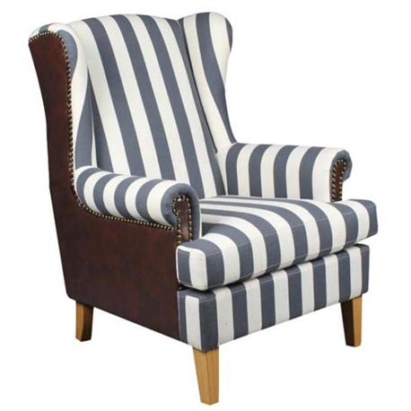 ARMCHAIR Blue Strip Fabric/Dark Brown PU