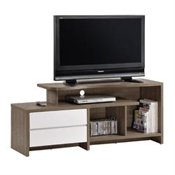 TV Table 2 drawers walnut oak - white