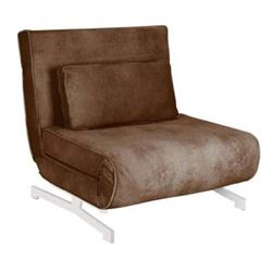 ARMCHAIR - BED, BROWN FABRIC