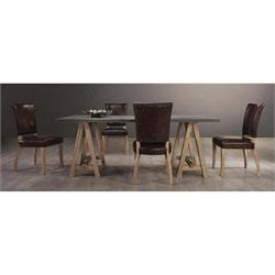 Set (table + 6 chairs) Antique Oak / Brown / Decape