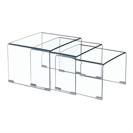 Σετ 3 τραπεζάκια γυαλί 10 μμ