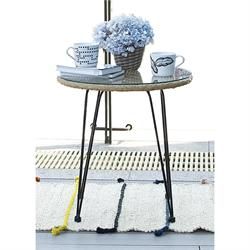 Coffee table steel black / wicker