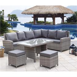 Set (corner sofa + 2stools + table) wicker