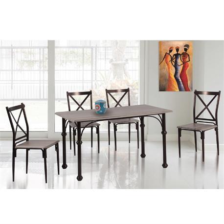 Set (Table + 4 Chairs) METAL Bronze / Somona