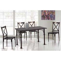 Set (Table + 4 Chairs) METAL Bronze / Walnut