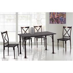 Set (Table + 4 Chairs) METAL Bronze / Walnut
