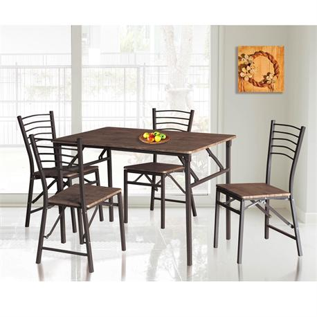Set folding (Table + 4 Chairs) Brown / walnut