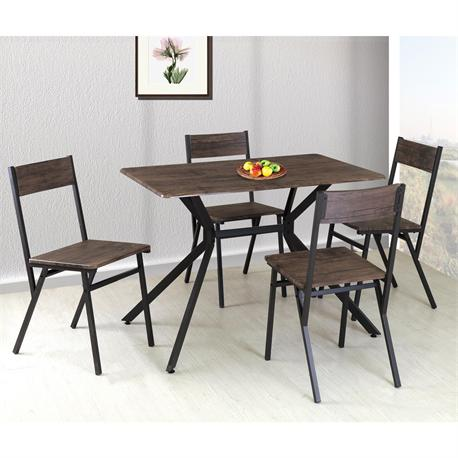 Set (Table + 4 Chairs) Brown / walnut
