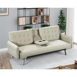 Sofa-bed beige PU
