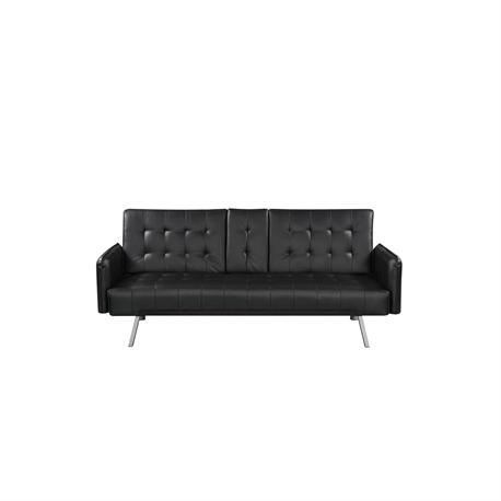 Sofa-bed black PU