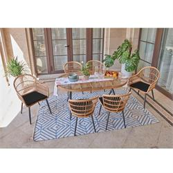 Dinning Set (7 Pcs) natural-black