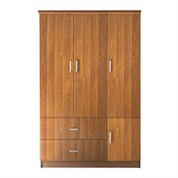 WARDROBE 3-doors walnut 120x50x180