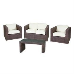 Σετ σαλόνι (2θ καναπές-2 πολυθρόνες-τραπεζάκι)alu-rocky brown wicker μαξιλάρι εκρού
