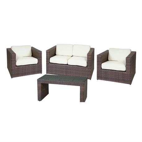 Set couch-2armchairs-table alu rocky brown wicker cushion ecru