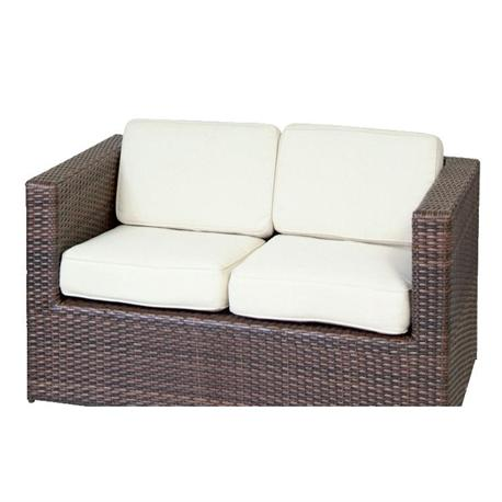 Double couch alu-rocky brown wicker cushion ecru