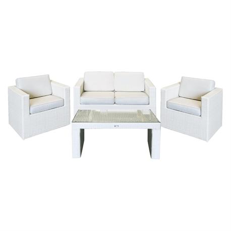 Set couch-2armchairs-table alu-ice white wicker cushion ecru