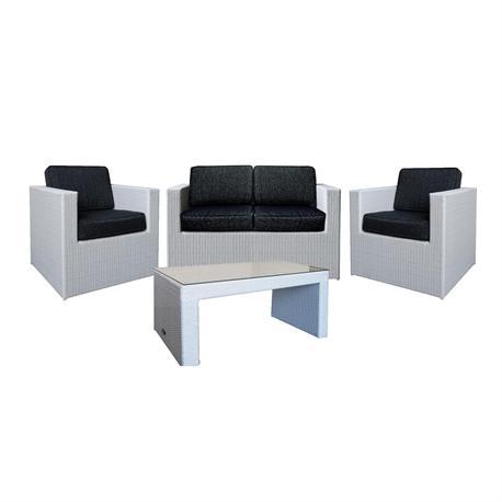 Set couch-2armchairs-table alu-grey wicker cushion dark grey