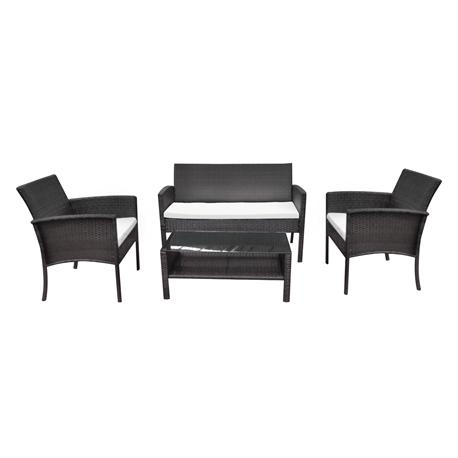 Set couch-2armchairs-table steel-rocky brown wicker