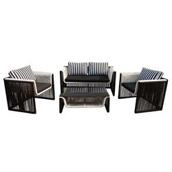 Set couch-2armchairs-table alu white-black round wicker