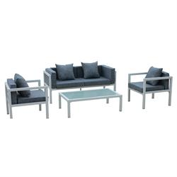 Set couch-2armchairs-table alu white cushion grey