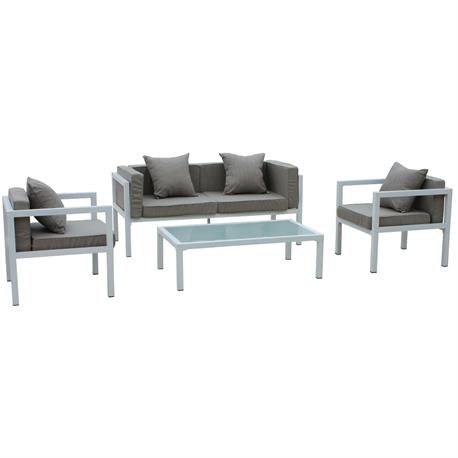 Set couch-2armchairs-table alu white cushion beige
