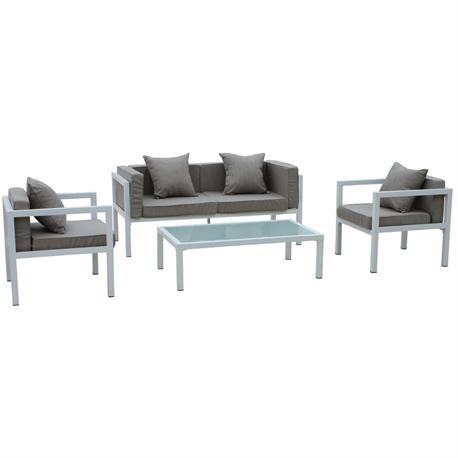 Σετ σαλόνι (3θ καναπές-2 πολυθρόνες-τραπεζάκι) alu λευκό μαξιλάρι μπεζ