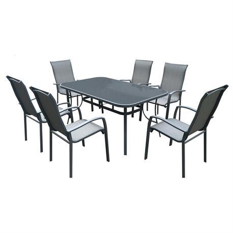 Σετ τραπέζι γυαλί silk screen + 6πολυθρόνες