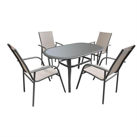 Set table alu oval dark grey + 4 armchairs textilene brown