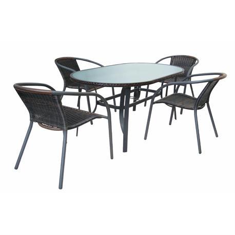 Set table alu oval dark grey+ 4 armchairs