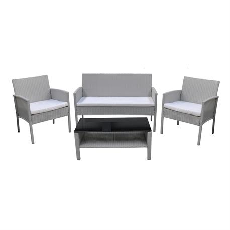 Set couch-2armchairs-table steel-white cream wicker