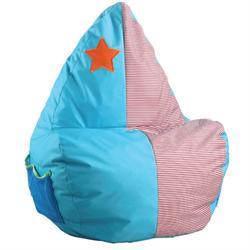 Children pouf fabric light blue-pink
