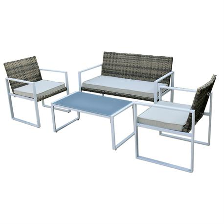 Set couch-2armchairs-table steel white wicker rocky brown-cushion ecru