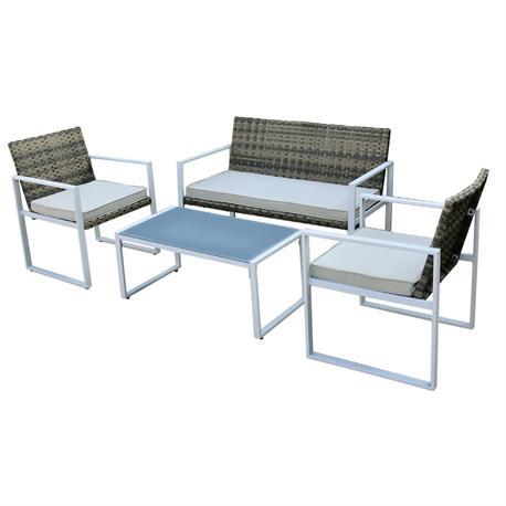 Σετ σαλόνι (2θ καναπές-2 πολυθρόνες-τραπεζάκι) steel λευκό wicker rocky brown-μαξιλάρι εκρού
