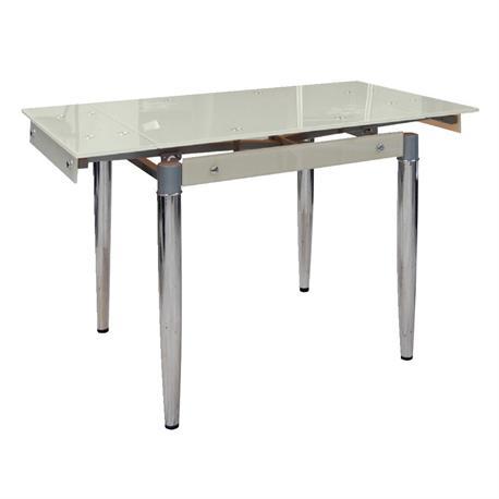 Τραπέζι επεκτεινόμενο χρώμιο-γυαλι camel 80+40x65 εκ
