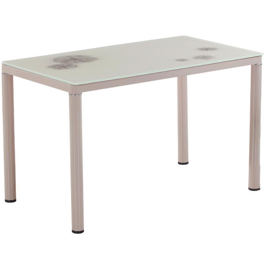 Table paint beige glass camel 120x70 cm for Table exterieur 120x70
