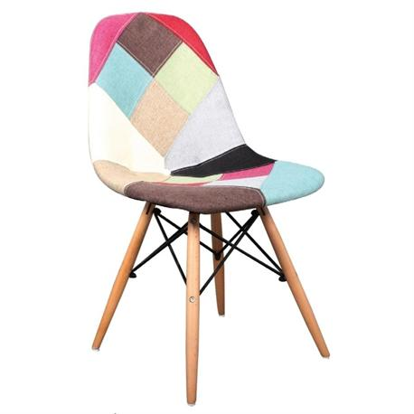 Chair wood skin-fabric patchwork