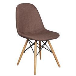 Καρέκλα ξύλινο κέλυφος -ύφασμα καφέ