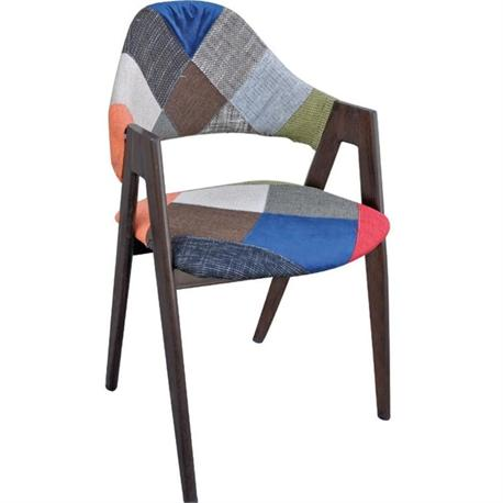 Πολυθρόνα steel-καρυδί-ύφασμα patchwork