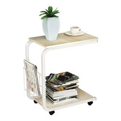 Side Table Steel White / Maple