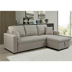 Reversible corner sofa-bed / fabric beige
