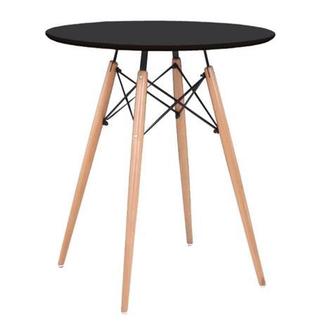 Τραπέζι MDF μαύρο Φ80 εκ