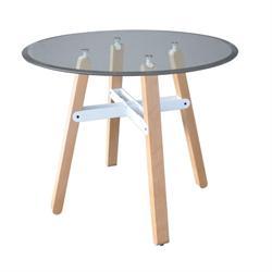 Τραπέζι ξύλο-γυαλί διάφανο 10μμ tempered Φ90 εκ