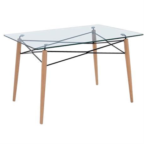 Τραπέζι ξύλο-γυαλί 10μμ tempered 120x80 εκ