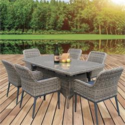 Set ALU Table + 6 Armchairs Wicker