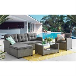 Set Steel (Corner Sofa + Table + Armchair)
