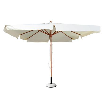 Ομπρέλα ξύλινη στρογγυλή εκρού