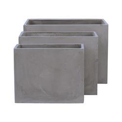 Γλάστρα (2) Set 3 τεμαχίων Cement Grey